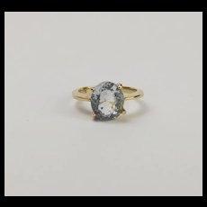 10Ct Yellow Gold Aquamarine Ring UK Size P+ US 7 ¾