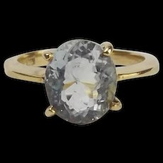 10Ct Yellow Gold Aquamarine Ring UK Size P+ US 7 ¾