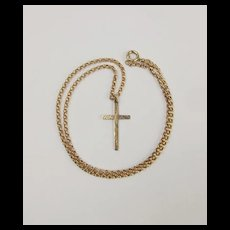 9ct Yellow Gold Cross Pendant Necklace - 18 Inches