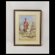 Watercolour Of A 2nd Dragoons Royal Scots Greys Soldier By F.Allan Stewart c1905