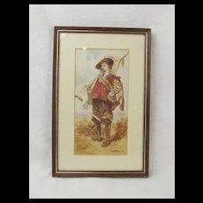 Watercolour Of A Cavalier By F. Allan Stewart (1865-1951)