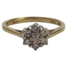 9ct Yellow Gold Diamond Flower Head Ring UK Size K+ US 5 ¼