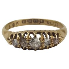 18ct Yellow Gold Five Stone Diamond Ring UK Size Q+ US 8 ¼ – Chester 1916
