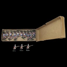 20 Vintage Toy Lead Figures Of Napoleonic Prussian Soldiers At The Charge