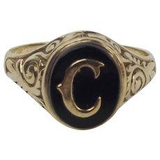 9ct Yellow Gold Onyx C Monogrammed Signet Ring UK Size X US 11 ½