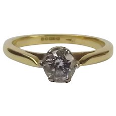 18Ct Yellow Gold 0.50 CTW Diamond Solitaire Ring UK Size L+ US 5 ¾