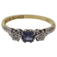 18ct Yellow Gold Sapphire & Diamond Ring UK Size O US 7