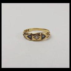 18Ct Yellow Gold Diamond & Sapphire Ring UK Size 7 ¼ - Chester c1892