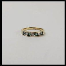 18ct Yellow Gold Diamond & Emerald Ring UK size Q US 8