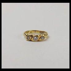 18Ct Yellow Gold Diamond Trilogy Ring UK Size N+ US 6 ¾