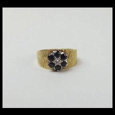 18ct Yellow Gold Sapphire & Diamond Flower Head Ring UK Size O+ US 7 ¼