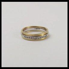 18Ct Yellow & White Gold Diamond Band Ring UK Size M US 6