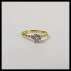 18Ct Yellow Gold 0.64 CTW Diamond Solitaire Ring UK Size L+ US 7 ¼