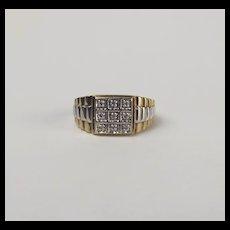 Gents 9ct Yellow & White Gold Diamond Ring UK Size V US 10 ½