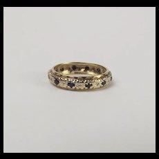 9ct Yellow Gold Sapphire & Diamond Eternity Band Ring UK Size S US 9