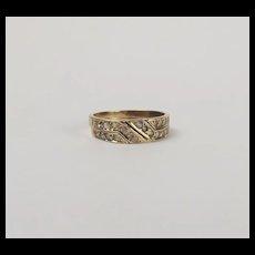 9ct Yellow Gold Aquamarine Puzzle Ring UK Size K US 5 ¼