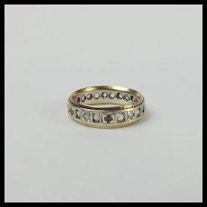 9ct Yellow Gold Aquamarine Eternity Band Ring UK Size N US  6 ½
