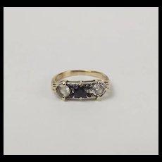 9ct Yellow Gold Sapphire & Aquamarine Ring UK Size T+ US 10