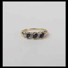 9ct Yellow Gold Sapphire & Diamond Ring UK Size S US 9