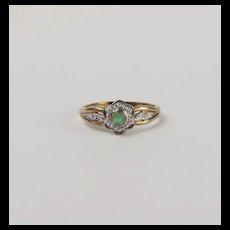 9ct Yellow Gold Emerald & Diamond Flower Head Ring UK Size O US 7