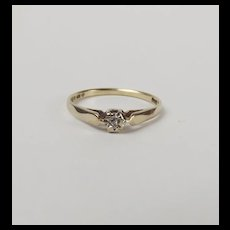 London 9ct Yellow Gold Diamond Ring UK Size L+ US 6