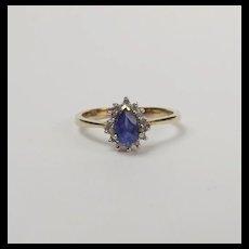 9ct Yellow Gold Sapphire & 0.07CTW Diamond Flower Head Ring UK Size O+ US 7 ¼
