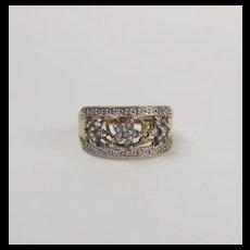 9ct Yellow Gold Iolite & Diamond Ring UK Size U US 10 ¼