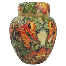 Moorcroft Flame Of The Forest Pattern Ginger Jar with Cover 1998