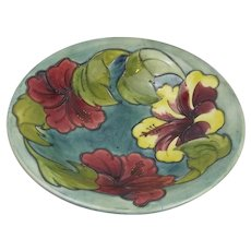 Moorcroft Hibiscus Pattern Bowl With Queen Mary Label
