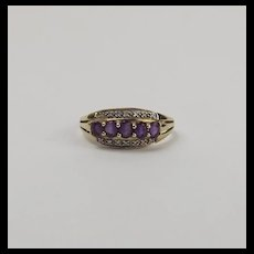 9ct Yellow Gold Amethyst & Diamond Ring UK Size U+ US 10 ½