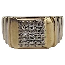 Gents 9ct Yellow Gold Diamond Ring UK Size R US 8 ½