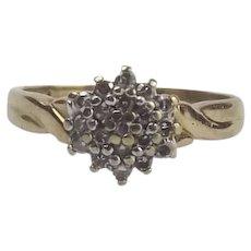 9ct Yellow Gold Diamond Flower Head Ring UK Size M US 6