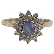 9ct Yellow Gold Sapphire & Diamond Flower Head Ring UK Size N+ US 6 3/4