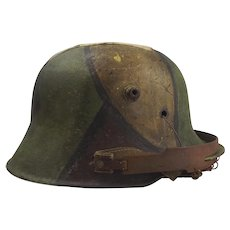 World War 1 Austro-Hungarian Camo Stahlhelm Snipers Helmet With Chain Mail Visor