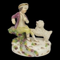 Early Staffordshire c1820 Figurine Of A Man With His Poodle