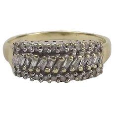 9ct Yellow Gold Diamond Cluster Ring UK Size N+ US 6 3/4
