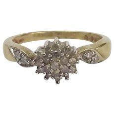 9ct Yellow Gold 0.25CTW Diamond Flower Head Ring UK Size N+ US 6 3/4
