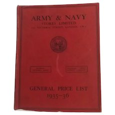 Army And Navy Stores Ltd London - Price List Book 1935-36