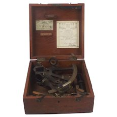 Marine Sextant In Mahogany Case By E. R. Watts Of London