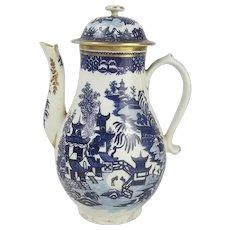 Circa 1785 Century Worcester Porcelain Coffee Pot