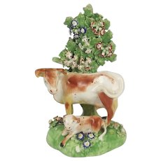 18th Century Derby Porcelain Figure Group Of A Cow And A Calf