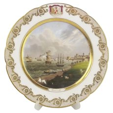 19th Century Porcelain Cabinet Plate Depicting Portsmouth Harbour