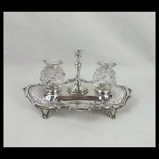 Victorian Silver & Cut Glass Ink Standish Sheffield 1850