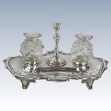 Victorian Silver & Cut Glass Ink Standish Sheffield 1850