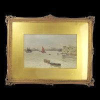 Framed Watercolour Of A Busy Scene In Portsmouth Harbour By Martin Snape (1852-1930)