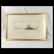 William L. Wyllie R.A. (1851-1931) Etching Of Coal Barges & Ships