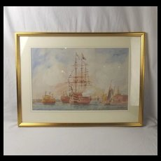 Signed Watercolour Of HMS Victory In Portsmouth Harbour By William Edward Atkins