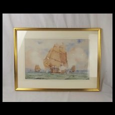Watercolour Of HMS Victory In The Solent By William Edward Atkins (1842-1910) - Unsigned