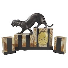Art Deco Three Piece Marble And Onyx Clock Garniture With Spelter Panther