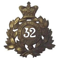Victorian 32nd Regiment Cornwall Foreign Service Helmet Plate